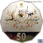 50 Cents - Elizabeth II (4th Portrait - Federation - Colourised Proof) -  reverse