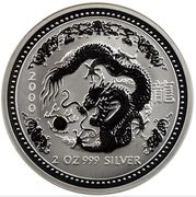 2 Dollars - Elizabeth II (4th portrait - Year of the Dragon - Silver Bullion Coin) -  reverse