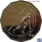 50 Cents - Elizabeth II (4th Portrait - XVIII Commonwealth Games Hockey) – reverse