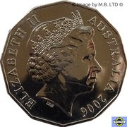 50 Cents - Elizabeth II (4th Portrait - XVIII Commonwealth Games Weightlifting) -  obverse