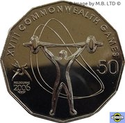 50 Cents - Elizabeth II (4th Portrait - XVIII Commonwealth Games Weightlifting) -  reverse