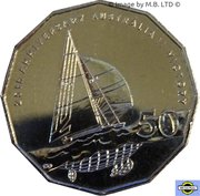 50 Cents - Elizabeth II (4th Portrait - 25th Anniversary of America's Cup Victory) -  reverse