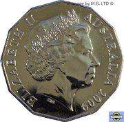 50 Cents - Elizabeth II (4th Portrait - 40th Anniversary of Moon Landing) -  obverse