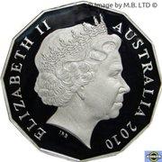 50 Cents - Elizabeth II (4th Portrait - Melbourne Cup 150 Years) -  obverse