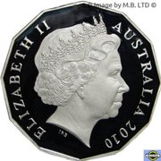 50 Cents - Elizabeth II (4th Portrait - Melbourne Cup 150 Years) -  obverse