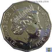 50 Cents - Elizabeth II (4th Portrait - William and Kate Royal Wedding) -  obverse