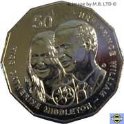 50 Cents - Elizabeth II (4th Portrait - William and Kate Royal Wedding) -  reverse