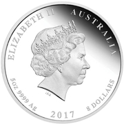 8 Dollars - Elizabeth II (4th Portrait - Henry Lawson -150 Years, Silver Proof) -  obverse