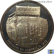 20 Cents - Elizabeth II (4th Portrait - Shores Under Siege - Air raid Shelter) -  reverse