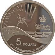 5 Dollars - Elizabeth II (4th Portrait - Queen's Baton Relay) Silver Proof -  reverse