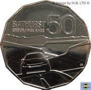 50 Cents - Elizabeth II (4th Portrait - 50 years of Bathurst Race) -  reverse