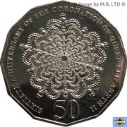 50 Cents - Elizabeth II (4th Portrait - 60th Anniversary of Coronation of Queen Elizabeth II) – reverse