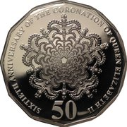 50 Cents - Elizabeth II (4th Portrait - 60th Anniversary of Coronation of Queen Elizabeth II - Silver Proof) – reverse