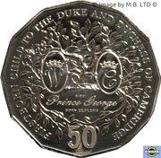 50 Cents - Elizabeth II (4th Portrait - Firstborn Baby of the Duke and Duchess of Cambridge) -  reverse