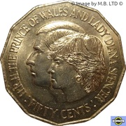 50 Cents - Elizabeth II (2nd Portrait - Royal Wedding) -  reverse