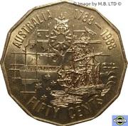 50 Cents - Elizabeth II (3rd Portrait - First Fleet Bicentenary) – reverse