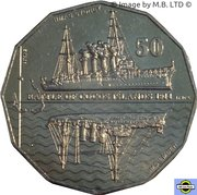 50 Cents - Elizabeth II (4th Portrait - Australians at War 02 - Battle of Cocos Islands) -  reverse
