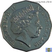 50 Cents - Elizabeth II (4th Portrait - Australians at War 10 - Tobruk) -  obverse