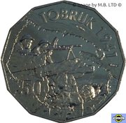 50 Cents - Elizabeth II (4th Portrait - Australians at War 10 - Tobruk) -  reverse