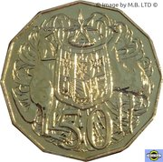 50 Cents - Elizabeth II (4th Portrait - Coat of Arms - Gold Plated) -  reverse