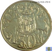 50 Cents - Elizabeth II (4th Portrait - 50th Anniversary of Decimal Currency - Gold Plated) -  reverse