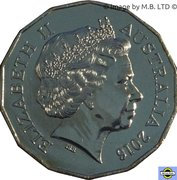 50 Cents - Elizabeth II (4th Portrait - Year of the Monkey) -  obverse