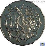 50 Cents - Elizabeth II (4th Portrait - Year of the Monkey) -  reverse