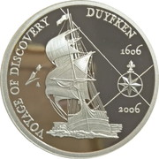 5 Dollars - Elizabeth II (4th Portrait - 400th Anniversary of Duyfken's Exploration of Australia - Silver Proof) -  reverse