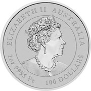 100 Dollars - Elizabeth II (6th Portrait - Year of the Mouse - Platinum Bullion Coin) -  obverse