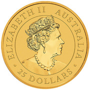 25 Dollars - Elizabeth II (6th Portrait - Kangaroo - Gold Bullion Coin) -  obverse