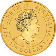 100 Dollars - Elizabeth II (6th Portrait - Kangaroo - Gold Bullion Coin) -  obverse