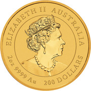 200 Dollars - Elizabeth II (6th Portrait - Year of the Mouse - Gold Bullion Coin) -  obverse