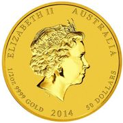 50 Dollars - Elizabeth II (4th Portrait - Year of the Horse - Gold Bullion Coin) -  obverse