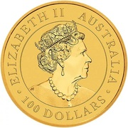 "100 Dollars - Elizabeth II (6th Portrait - ""The Australian Nugget"" Gold Bullion Coinage) -  obverse"
