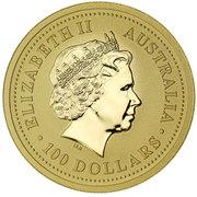 100 Dollars - Elizabeth II (4th Portrait - Year of the Goat - Gold Bullion Coin) -  obverse