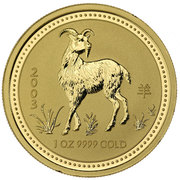 100 Dollars - Elizabeth II (4th Portrait - Year of the Goat - Gold Bullion Coin) -  reverse