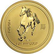 100 Dollars - Elizabeth II (4th Portrait - Year of the Horse - Gold Bullion Coin) -  reverse