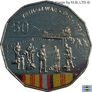 50 Cents - Elizabeth II (4th Portrait - Australians at War 16 - Vietnam War) – reverse