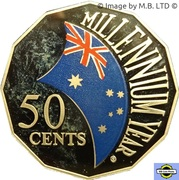 50 Cents - Elizabeth II (4th Portrait - Millennium- colourised) -  reverse
