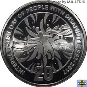 20 Cents - Elizabeth II (4th Portrait - 25th Anniversary of International Day of People with Disability) -  reverse