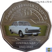 50 Cents - Elizabeth II (4th Portrait - 05 - Ford Cortina MK1) -  reverse