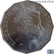 50 Cents - Elizabeth II (4th Portrait - 04 - Ford XK Falcon Sedan) -  obverse