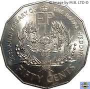 50 Cents - Elizabeth II (4th Portrait - Platinum Wedding Anniversary) -  reverse