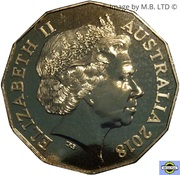 50 Cents - Elizabeth II (4th Portrait - Gold Coast 2018 - Gold Plated) -  obverse