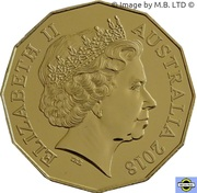 50 Cents - Elizabeth II (4th Portrait - Year of the Dog - Gold Plated) -  obverse