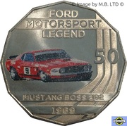 50 Cents - Elizabeth II (4th Portrait - Ford High Octane - 1969 Mustang Boss 302 Trans-Am) -  reverse