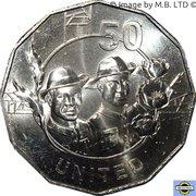 50 Cents - Elizabeth II (4th Portrait - Anzac Spirit - United) -  reverse