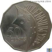 50 Cents - Elizabeth II (4th Portrait - Millennium) -  reverse