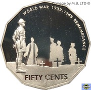 50 Cents - Elizabeth II (4th Portrait - Remembrance - End of World War II) -  reverse
