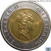 5 Dollars - Elizabeth II (3rd Portrait - Sir Donald Bradman Tribute - Bi-Metalic) -  obverse